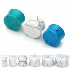 """Pair 2G-5/8"""" Turquoise Saddle Gemstone Solid Ear Plug Tunnel Expander Stretcher"""