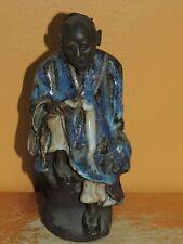 """Chinese Mud Man/ Men Blue Robe w fan 5.75"""" drip glaze unmarked Mudman Antique"""