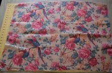 6564 Piece vintage 1920's linen drapery fabric, colorful parrots, pink roses