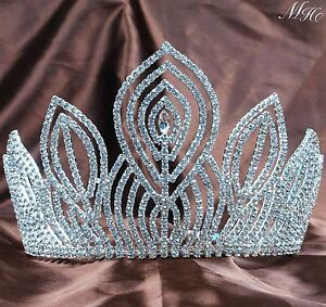 "Glittery Pageant 5.25"" Tiara Wedding Rhinestone Crown Silver Headband Party Prom"