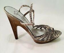Jessica Simpson Platform Sandal Pumps, Snakeskin Leather Wooden Heel, 8B Shoe