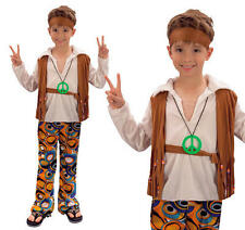 Childrens Hippy Boy Costume Costume Anni'60'70 Retrò Hippie Vestito L