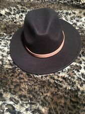 """27e46a619bec6c New Felt Fedora Hat Men's """"coffee"""" colored with brown hat band Flat Brim"""
