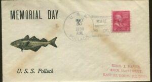 1939 Mare Island California U.S.s. Pollack Memorial Day Postal Cover