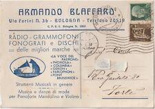 ITALIA 1938 BOLOGNA CARTOLINA PUBBLICITARIA RADIO -GRAMMOFONI FONOGRAFI-DISCHI