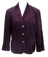 Talbots Blazer Sz 14 Womens Purple Corduroy Stretch Ruffle Peplum Blazer