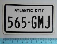 ADESIVO STICKER VINTAGE AUTOCOLLANT AUFKLEBER TARGA ATLANTIC CITY ANNI'80 11x6cm
