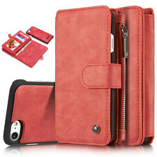 Magnetic Removable Zipper Leather Wallet Case Cover Purse for iPhone 6/6s/7/Plus