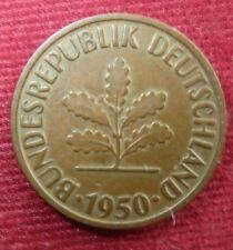 West Germany ~ 1950 2 Pfennig Coin ~Bundesrepublik