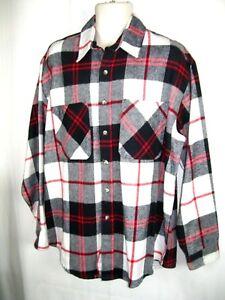 VINTAGE ST JOHNS BAY BIG MAC flannel work shirt MEDIUM Reg plaid USA Made