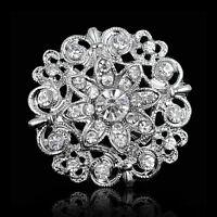 Tone Flower Broach Crystal Rhinestone Diamante Wedding Bridal Pin Brooch HOT.