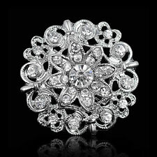 Silver Tone Flowers Broach Crystal Rhinestone Diamante Pin Bridal Wedding B H3F6