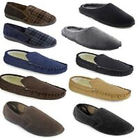 Mens Slip On Slippers Check/Cord/Plain Style Fleece Lining Moccasin/Mule UK 6-12