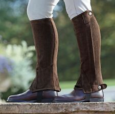 Shires adults amara suede horse riding half chaps, black or brown washable,