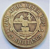 1894 ZAR SOUTH AFRICA, Kruger silver 2 Shillings, grading VERY GOOD.