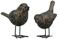 Vogel Skulptur grün bronze farben, 2 Modelle