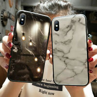 For Apple iPhone X 7 8 Plus Mirror Marble Glass Hard Back Shockproof Case Cover
