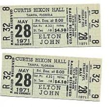 Elton John Concert Ticket Set of 2 1971 Tampa Green