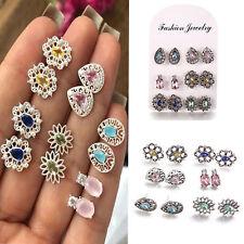 6Pairs Boho Women Rhinestone Crystal Earrings Drop Jewelry Ear Stud Earrings JT
