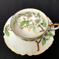 Antique Dogwood White Floral Cup And Saucer United China and Glass Co. Japan