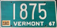 1967 Vintage Vermont License Plate Bright Green w/White Numbers & Letters #1875