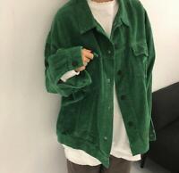 Womens Ladies Korean Fashion Corduroy Loose Oversize Jacket Coat Outwear 8216