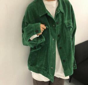 Oversize Women's Fashion Corduroy Loose Fit Jacket Long Sleeve Coat Outerwear