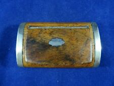 Victorian Wooden Snuff / Tobacco Box With Brass Banding and Cartouche