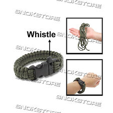 PARACORD WEAVE SURVIVAL BRACELET WITH WHISTLE BUCKLE SOPRAVVIVENZA CAMPING GREEN