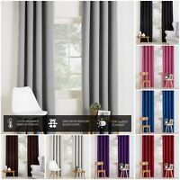 PAIR OF BLACKOUT CURTAINS EYELET TOP OR PENCIL PLEAT WITH FREE TIE-BACKS