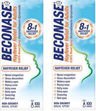 2 x Beconase Hayfever Relief - 8 in 1 Effective Adult Nasal Spray - 100 Sprays
