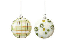 Polka Dot and Plaid Retro Ornaments --Set of 2 Different