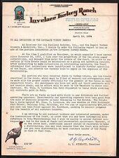 Lovelace Turkey Ranch Houston TX 1934 Vintage Color Letterhead Rare