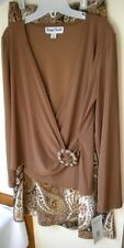 RONNI NICOLE Below Knee A-Line Brown Paisley Jersey Skirt & Top. Sz 8. Ret. $78