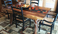 Rustic Dining Table Wood Walnut Log Cabin Kitchen Furniture Free Shipping