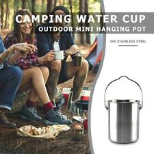 750ml Stainless Steel Outdoor Camping Hang Pot Water Cup Foldable with Lid new