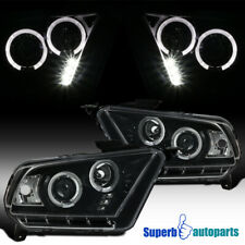 For 2010-2014 Mustang LED Halo Projector Headlights Polished Black Lamps