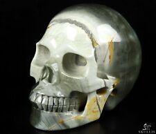 "5.0"" POLYCHROME JASPER Carved Crystal Skull, Realistic, Crystal Healing"