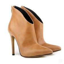 British Womens Ankle Boots Pointed Stilettos High Heel Back Zipper Casual Party