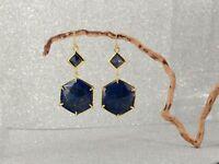 Orecchini Diamentine Esagonale Geometrica Lapislazzuli Blu Semplice AA26