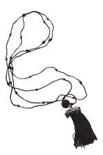 Elegante & atemporal-Negro Perlas y Cristal Borla Colgante Collar Largo & (Zx252)