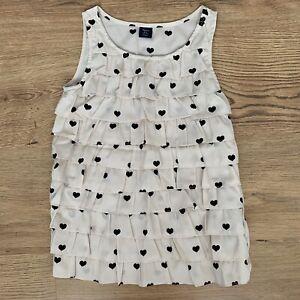 GAP Girls Top Cami Blouse Age 8-9 Heart Print Cream Black Tiered Ruffled VGC