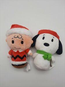 Hallmark Itty Bittys Peanuts Charlie Brown & Snoopy Plush Lot of 2 Christmas