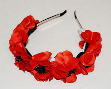 Red Floral Headband Ukrainian Poppy Flower Hand Made Vinok