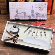 Goose Feather Quill Pen + 6 Metal Nibs Dip Writing Black Ink Set With Box Gift