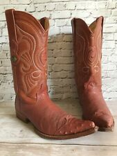 Men's LOS ALTOS Cowboy 3x Toe Boots EXOTIC Leather OSTRICH Tan Western 7.5 EE