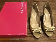 Kate Spade Melinda Too Light Camel Patent Leather Wedge, Cream Patent Bow 9.5