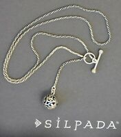 ❤️ SILPADA necklace oxidized LARIAT chain N1619 Sterling Silver Filigree BALL