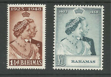 BAHAMAS THE  1948 GVI SILVER WEDDING PAIR MINT CAT £45