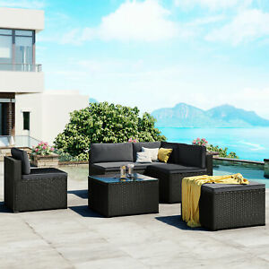 6-Piece Outdoor Furniture Set PE Rattan Wicker Patio Garden Sectional Sofa Chair